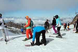 Am Ende der Bergfahrt - am Anfang der Skifahrt