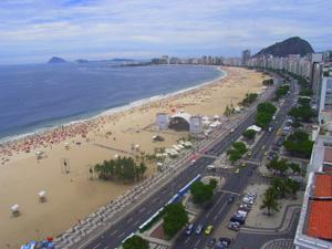 Wenn Brasilien spielt, gibt es am Strand von Copacabana Open-Air-Übertragungen