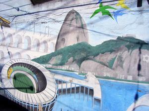 Die Highlights von Rio, gemalt mit der Spraydose von einem Grafitti-Künstler in Santa Teresa