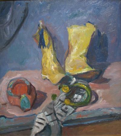 Stillleben mit gelben Stiefeln,1912 Öl auf Leinwand, 79x69 cm Privatsammlung Deutschland