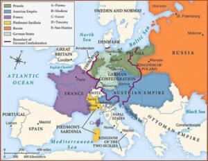 Europas Grenzen 1815 nach den Vereinbarungen des Wiener Kongresses